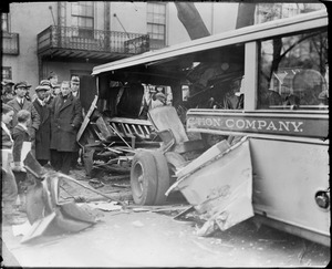 Bus accident - Wash. DL. Two buses collide, 17th St. and R.I. Ave. Two men killed. En Route from Chevy Chase.