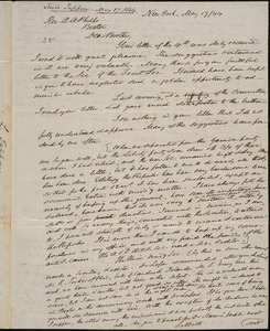 Letter from Lewis Tappan, New York, to Amos Augustus Phelps, 1844 May 17