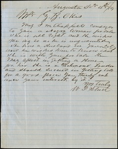 W.P. Starr, Augusta, Ga., autograph letter signed to Ziba B. Oakes, 13 December 1854
