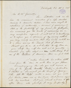 Margaret Lucy (Shands) Bailey, Washington, DC., autograph letter signed to R. W. Griswold, 16 October 1848