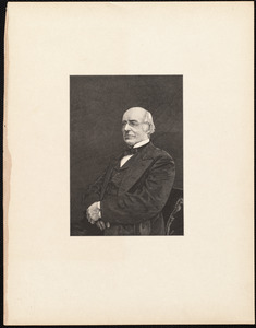 Half-length portrait of William Lloyd Garrison, seated, facing left, with hands folded