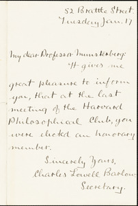 Barlow, Charles Lowell autograph note signed to Hugo Münsterberg, Cambridge, Mass.
