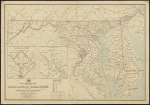 Post route map of the states of Maryland and Delaware and of the District of Columbia showing post offices with the intermediate distances on mail routes in operation on the 1st. of September, 1897