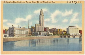 Skyline, looking east from across Scioto River, Columbus, Ohio