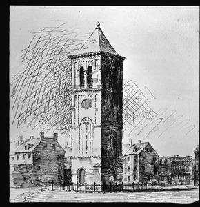 Architect's drawing of projected bell tower to be saved from demolition of First Church on Town Hill