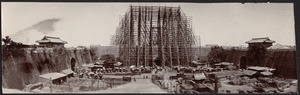 Construction of Foreign Legation quarter; scaffolding at main gate