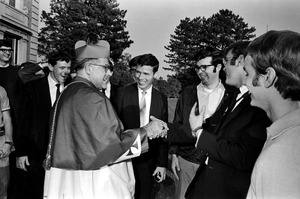 Cardinal Medeiros and well-wishers at his installation, Brighton