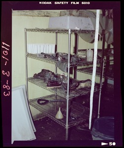 Rack with footwear and laboratory equipment