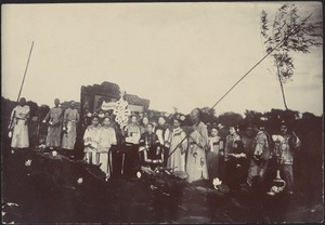 Empress Dowager Cixi and entourage on royal barge at the Summer Palace