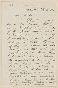 Thomas Wentworth Higginson autograph letter signed to Franklin Benjamin Sanborn, Worcester, 3 February 1860