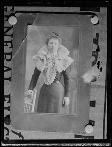 Card photograph of a woman wearing fur cape