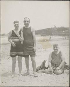 Leon, Alma and Lillian Abdalian on the beach