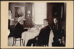 Newton photographs. Newton, MA. Three people seated at table