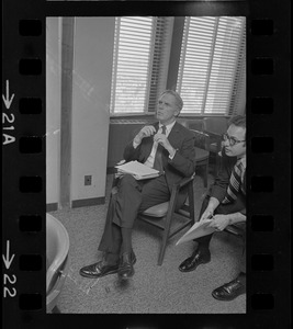 Boston Mayor Kevin White at meeting between Ted Kennedy and Massachusetts mayors