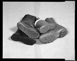Footwear, direct molded boots, bottom view