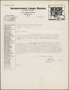 James P. Cannon (International Labor Defense) typed letter signed to Sacco-Vanzetti Defense Committee, Chicago, Ill., January 5, 1927