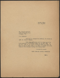 Sacco-Vanzetti Defense Committee typed note (copy) to Albert Wechsler (Sacco-Vanzetti Conference, Chicago), Boston Mass., June 18, 1927