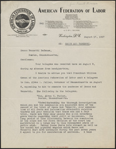 Frank Morrison (American Federation of Labor) typed letter signed to Sacco-Vanzetti Defense Committee, Washington, D.C., August 17, 1927