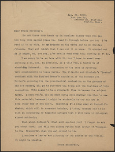 [Gardner Jackson] typed letter (copy) to Freda Kirchwey (The Nation), Boston, Mass., January 30, 1928
