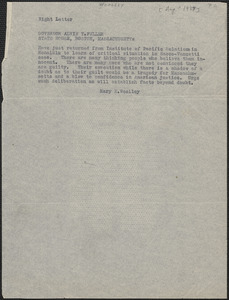 Mary E. Woolley telegram (copy) to Governor Alvan T. Fuller, [August? 1927]