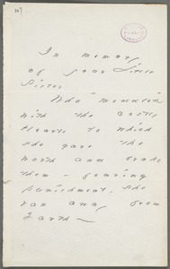 Emily Dickinson, Amherst, Mass., autograph note to Margaret Higginson, Spring 1884