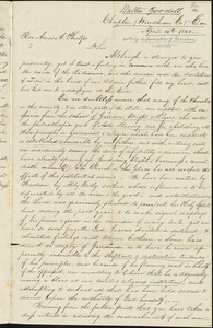 Letter from Walter Goodall, Chaplin, to Amos Augustus Phelps, April 20th 1841