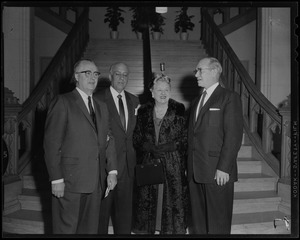 At formal opening of Hearst Alumni Lounge at BU School of Fine and Applied Arts were (l. to r.) Dean R. A. Choate BU School of Fine-Applied Arts; Harold G. Kern, general manager of Hearst Newspapers and trustee of the Foundation; Mrs. Kern, and Rev. Dr. Harold C. Case, BU President