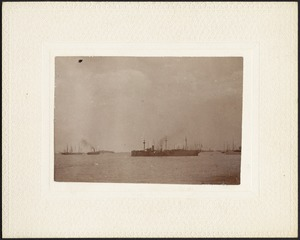 Sailing vessels and steamships in harbor