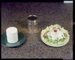Cottage compressed showing, can, container+ salad