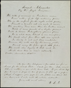 Sonnet from William Lloyd Garrison, Boston, [Mass.], to Maria Weston Chapman, November 1845