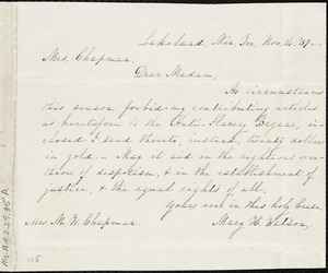Letter from Mary H. Watson, Lakeside, Min[nesota], Ter[ritory], to Maria Weston Chapman, Nov. 14, [18]57