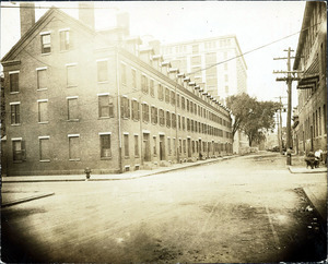 Methuen St. looking west from Mill St., Boarding houses, Washington Mill in background