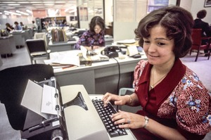 Office scene -- note typewriters and all-female personnel, Cambridge