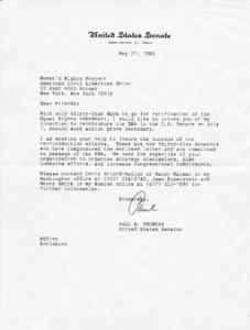 Letter from Paul E. Tsongas to Women's Rights Project