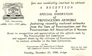 Restored Art Works In Town Collection, 1988 invitation