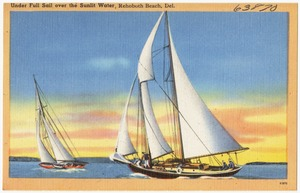 Under full sail over the sunlight water, Rehoboth Beach, Del