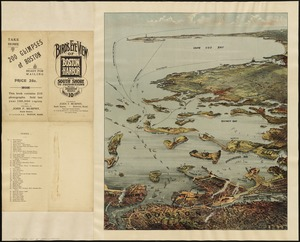 Bird's eye view of Boston Harbor and south shore to Provincetown showing steamboat routes