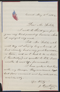 Julian Hawthorne autograph letter signed to James Thomas Fields, Concord, 3 May 1862