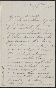 Sophia Hawthorne autograph letter signed to James Thomas Fields, [Concord], 13 [July 1862]