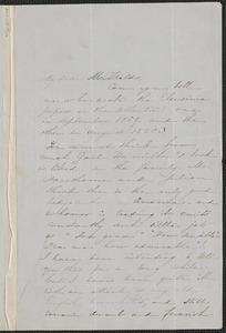 Sophia Hawthorne autograph letter signed to James Thomas Fields, [Concord], 3 November 1862