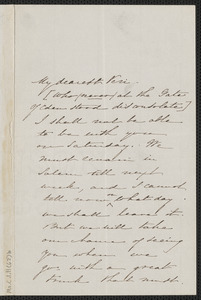 Sophia Hawthorne autograph letter signed to [Annie Adams Fields, Salem], approximately 24 September 1864