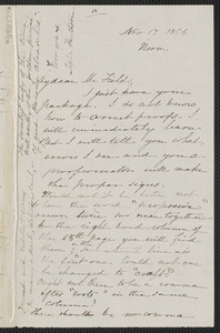 Sophia Hawthorne autograph letter signed to James Thomas Fields, [Concord], 17 November 1864