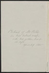 Sophia Hawthorne autograph manuscript to [Annie Adams Fields, Concord], 29 April 1865