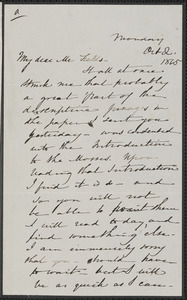 Sophia Hawthorne autograph letter signed to James Thomas Fields, [Concord], 2 October 1865