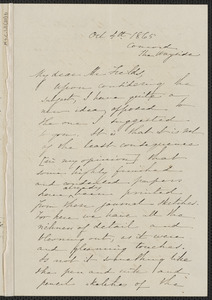 Sophia Hawthorne autograph letter signed to James Thomas Fields, [The Wayside, Concord], 4 October 1865