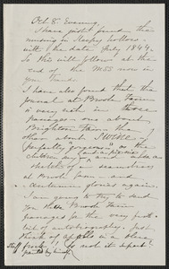 Sophia Hawthorne autograph letter signed to [James Thomas Fields, Concord], 8 October [1865]