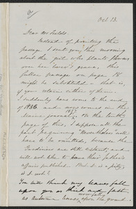 Sophia Hawthorne autograph letter signed to James Thomas Fields, [Concord], 13 October [1865]