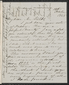 Sophia Hawthorne autograph letter signed to James Thomas Fields, [Concord], 14 October 1865