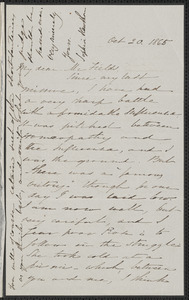Sophia Hawthorne autograph letter signed to James Thomas Fields, [Concord], 20 October 1865