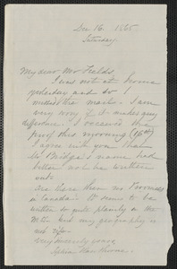 Sophia Hawthorne autograph letter signed to James Thomas Fields, [Concord], 16 December 1865